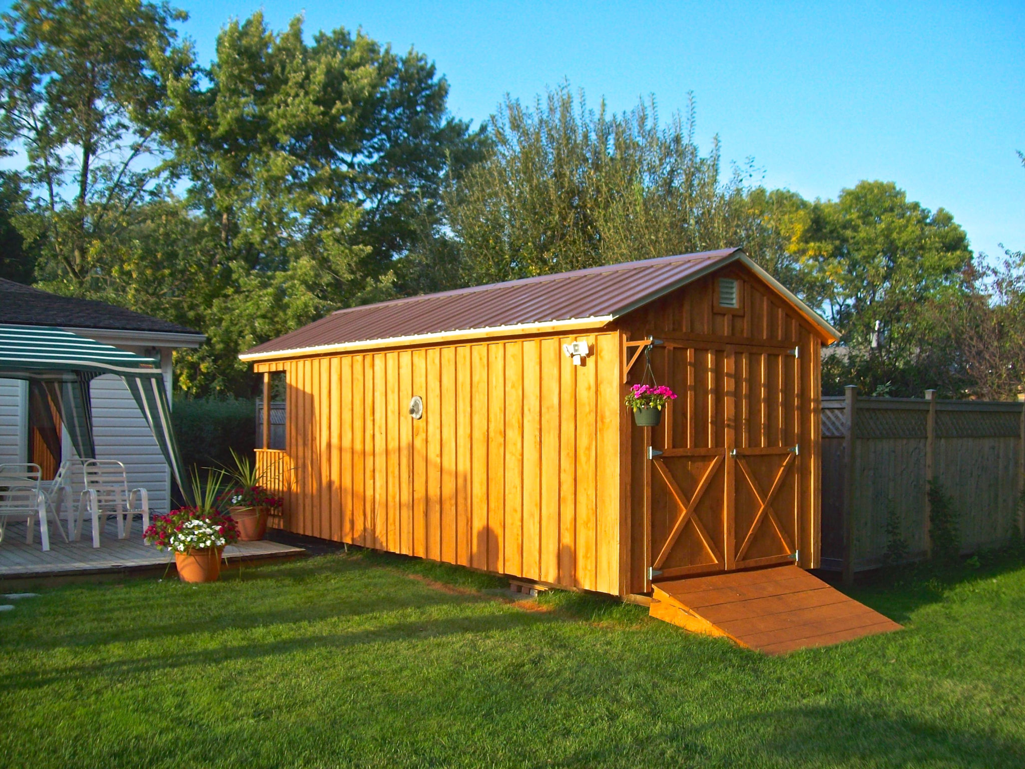 retreats and yard pin plans garden sheds nappanee now shed home backyard club porches back